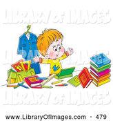 Clip Art of a Happy School Boy Surrounded by His School Stuff on White by Alex Bannykh