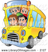 Clip Art of a Happy School Kids on a Bus by Visekart