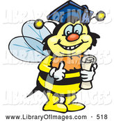 August 29th, 2013: Clip Art of a Happy Smart Bumble Bee Character Wearing a Graduation Cap and Holding a Diploma by Dennis Holmes Designs