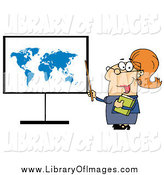 Clip Art of a Happy White Female Teacher Pointing to a Map Board by Hit Toon