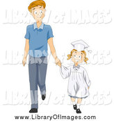October 16th, 2014: Clip Art of a Happy White Little Graduate Girl Holding Hands with Her Dad by BNP Design Studio