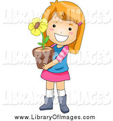 August 14th, 2014: Clip Art of a Happy White Red Haired Girl Holding a Potted Flower by BNP Design Studio
