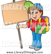 Clip Art of a Happy White School Boy Holding up a Sign by Visekart