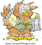 Clip Art of a Happy Wise Old Owl Professor by Johnny Sajem
