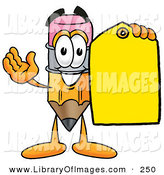 Clip Art of a Happy Yellow Pencil Mascot Cartoon Character Holding a Yellow Sales Price Tag by Toons4Biz