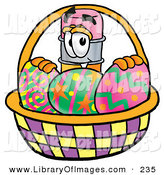 Clip Art of a Happy Yellow Pencil Mascot Cartoon Character in an Easter Basket Full of Decorated Easter Eggs by Toons4Biz
