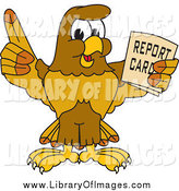 Clip Art of a Hawk Holding a Report Card by Toons4Biz