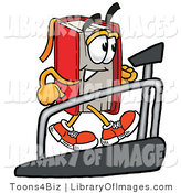 Clip Art of a Healthy Red Book Mascot Cartoon Character Walking on a Treadmill in a Fitness Gym by Toons4Biz