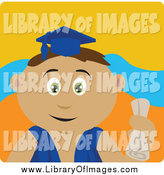 January 3rd, 2014: Clip Art of a Hispanic Graduate Boy Holding a Diploma by Dennis Holmes Designs