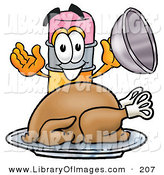 Clip Art of a Hungry Pencil Mascot Cartoon Character Serving a Thanksgiving Turkey on a Platter by Toons4Biz