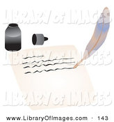 Clip Art of a Ink Bottle by a Feather Quill That Is Writing on a Piece of Paper School by Rasmussen Images
