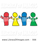 February 1st, 2013: Clip Art of a Line of Three Red, Yellow, Blue and Green Paper Dolls or Children Holding Hands by Andy Nortnik