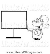 Clip Art of a Lineart Female Teacher Pointing to a Blank Board by Hit Toon