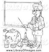 Clip Art of a Lineart Male Teacher by a Blank Board by Alex Bannykh