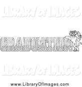 July 26th, 2015: Clip Art of a Lineart Panther Character Mascot with Graduation Text by Toons4Biz
