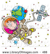 Clip Art of a Little Boy Floating in Outer Space As an Astronaut, Attached to a Satellite by Alex Bannykh