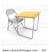 Clip Art of a Lone Student School Desk in a Class Room, with a Metal Chair, Wooden Surface and a Groove for Pencils by KJ Pargeter