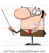 Clip Art of a Male Manager or Professor in a Brown Suit and Red Tie, Gesturing with a Pointer Stick by Hit Toon