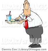 Clip Art of a Male Principal Carrying Food on a School Lunch Tray in a Cafeteria by Djart