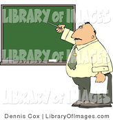 Clip Art of a Male School Teacher Pointing at a Blank Chalkboard During His Lesson by Djart