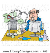 Clip Art of a Male Science Teacher Conducting a Science Experiment at a Table by Alex Bannykh