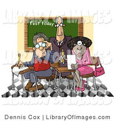 Clip Art of a Male Teacher Watching over Two Students in a Classroom by Djart