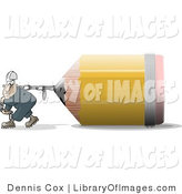 Clip Art of a Man Pulling an Oversized Yellow Pencil by Djart