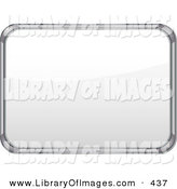 Clip Art of a Metal Frame White Board with Blank Space on White by Elaineitalia