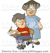 Clip Art of a Middle Aged Female Elementary School Teacher and Male Student Looking at Each Other by Djart
