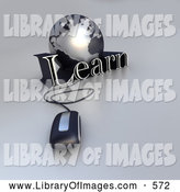 Clip Art of a New 3d Computer Mouse Wired to a Silver Globe and the Word Learn by Frank Boston