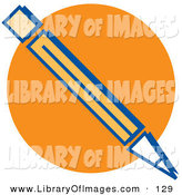Clip Art of a Number Two Pencil over an Orange Circle on White by Andy Nortnik