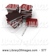 Clip Art of a Office Pen and Piece of Paper by Stacks of Red School Books by Frank Boston