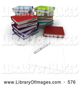 Clip Art of a Office Pen on Blank Note Paper by Stacks of Colorful School Books by Frank Boston