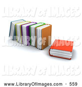 Clip Art of a Orange Library Book Resting Beside Standing Books, on White by KJ Pargeter