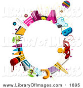 Clip Art of a Oval Frame of School Items Around Copyspace by BNP Design Studio