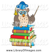 Clip Art of a Owl Processor Teacher Holding a Pointer Stick on a Stack of Books by Visekart