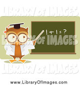 March 31st, 2015: Clip Art of a Owl Professor Teaching Math and Pointing to a Board by Qiun