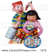 Clip Art of a Pair of 3d Kids Eating Sushi for Lunch by Amy Vangsgard