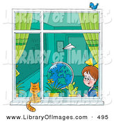 Clip Art of a Paper Plane Flying past a School Girl in a Classroom As She Looks out a Window at a Cat on the Windowsill by Alex Bannykh