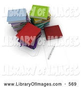 Clip Art of a Pen and Piece of Paper by Stacks of Colorful School or College Books by Frank Boston