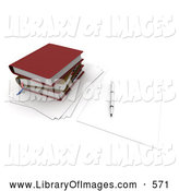 Clip Art of a Pen Resting on a Blank Piece of Paper by a Stack of School or Office Books by Frank Boston
