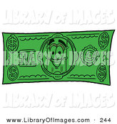 Clip Art of a Pencil Mascot Cartoon Character on a Green Dollar Bill by Toons4Biz