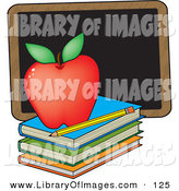 February 6th, 2013: Clip Art of a Perfect Red Apple Sitting on Top of a Stack of School Books near a Pencil and a Black Chalkboard on a Teacher's Desk by Maria Bell