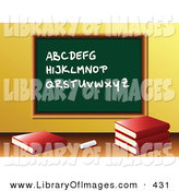 Clip Art of a Piece of Chalk and School Books in Front of a Green Chalkboard with the Alphabet Written on It in a Class Room by Elaineitalia