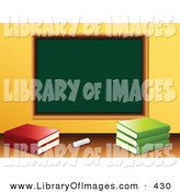 Clip Art of a Piece of White Chalk and School Books in Front of a Blank Green Chalkboard in a Class Room by Elaineitalia