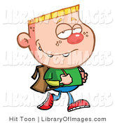 Clip Art of a Pleasant Blond Haired School Boy Smugly Tugging His Backpack Straps While Walking to School by Hit Toon