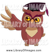 Clip Art of a Presenting Professor Owl Holding up a Wing by Pushkin