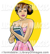 Clip Art of a Pretty Brunette College Girl Holding Her Textbooks to Her Chest by R Formidable