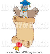 Clip Art of a Professor Owl Flying with a Parchment Certificate and Medal by Visekart