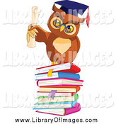 Clip Art of a Professor Owl Holding a Diploma on a Pile of Books by Pushkin